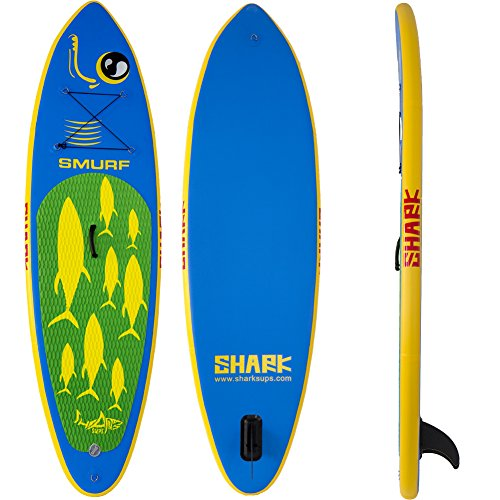 "Shark SUPs All-round Inflatable Stand Up Paddle Boards 9'2 FT SMURF SURF (4""Thick) Package with Standard Accessories (Include 3 Piece Adjustable Travel Paddle)"